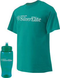 Silver Elite water bottle and shirt